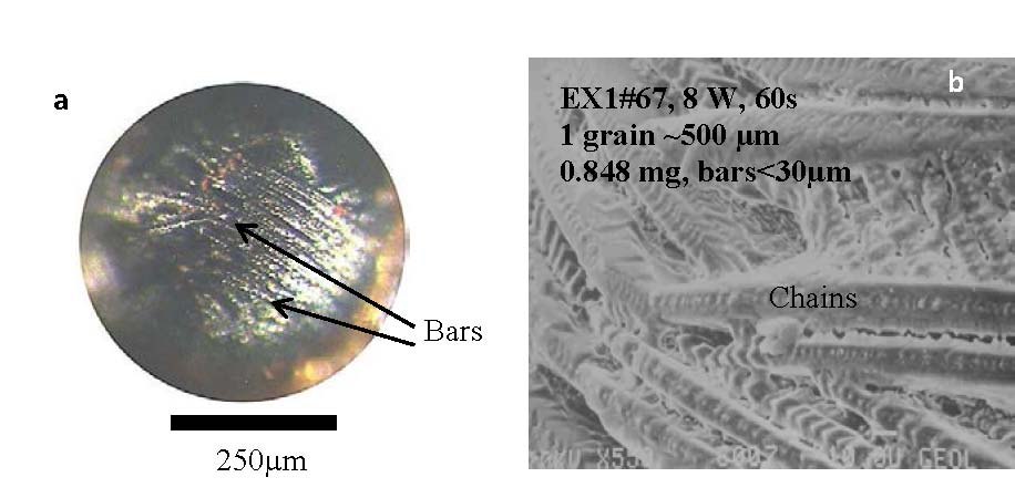 figure 6 images of the sample ex167 maximum laser power was 8 w a an overview of the sample after heating b bse image showing in detail the dendritic
