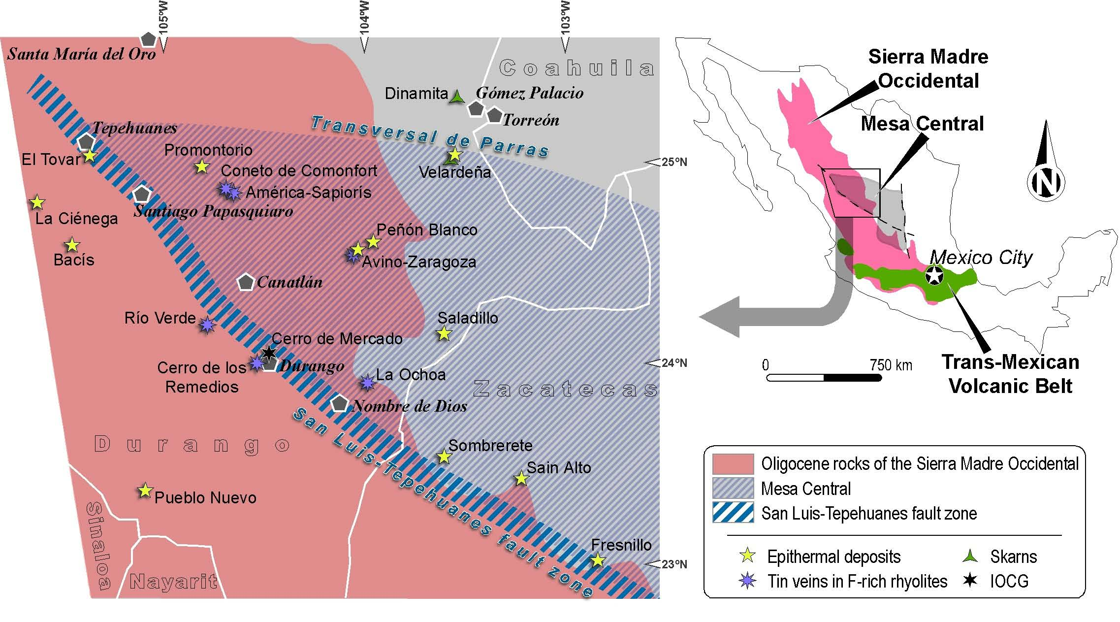 simplified geological map of the westernmost ending of the mesa central in central mexico showing the approximate extent of the oligocene volcanic rocks of
