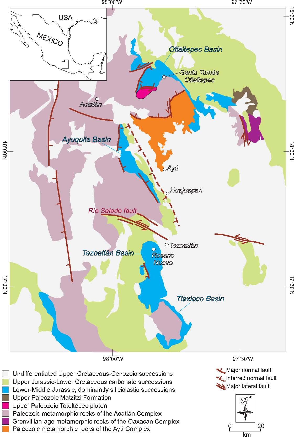 figure 1 imagesepoca046903 geologic map of the southern puebla and northern oaxaca states southern mexico showing the location and tectonic boundaries