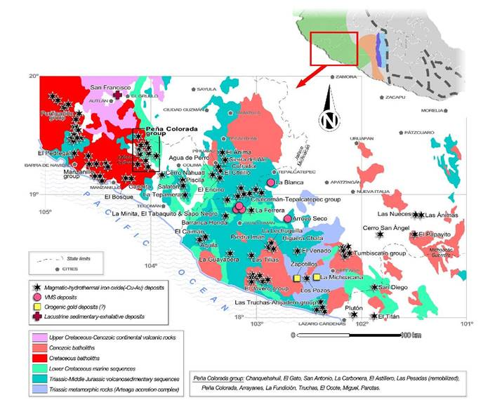 Figure 1. Regional distribution of ore deposits in southwestern Mexico, with the location of the mineralized region around the Peña Colorada deposit, Colima. Adapted from Camprubí and González-Partida (2017).