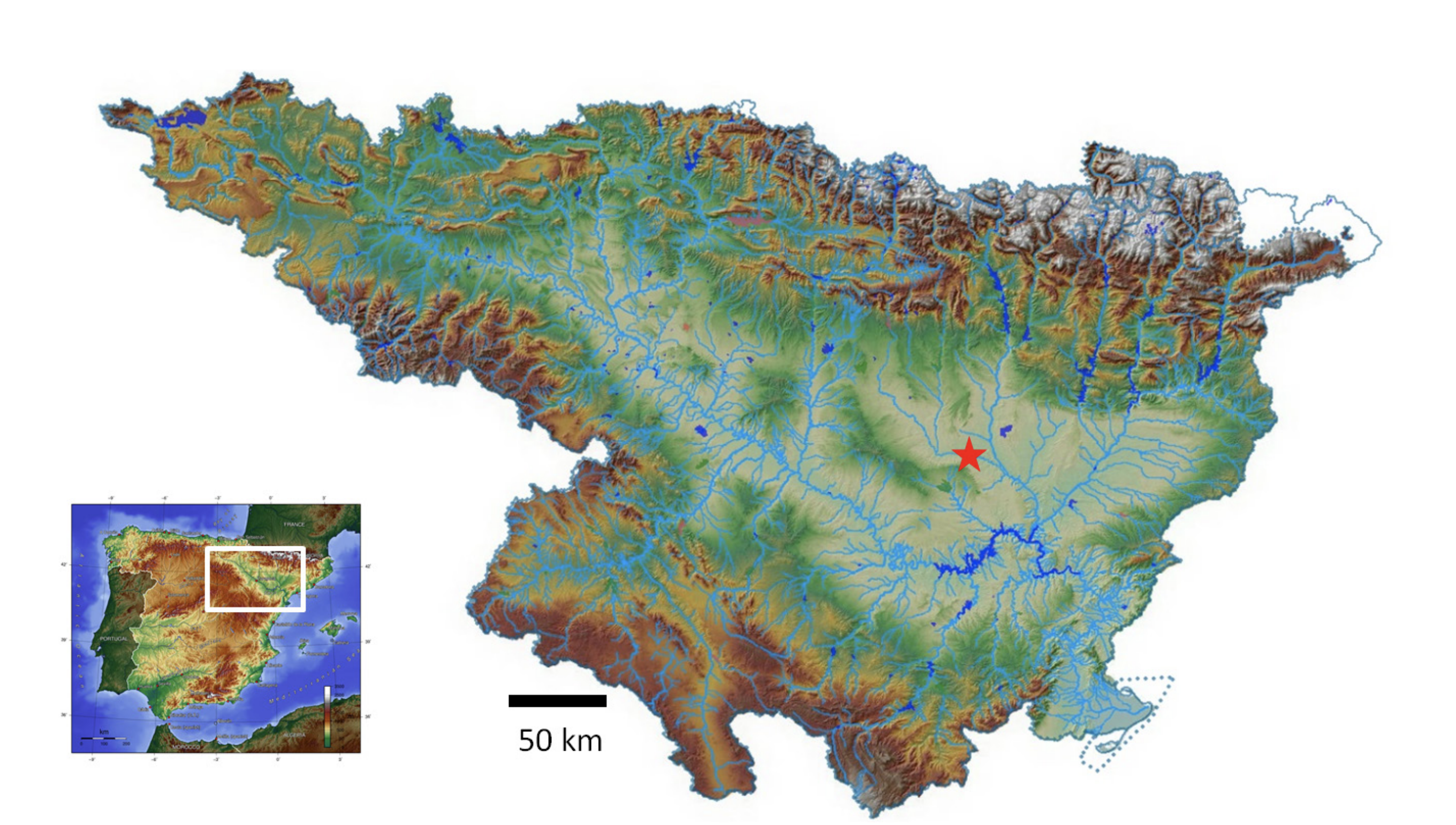 Figure 1. Location of the experimental site (red star, UTM-31 x:251.197, y:4.622.432) within the Ebro Valley. (Source: Confederación Hidrográfica del Ebro).